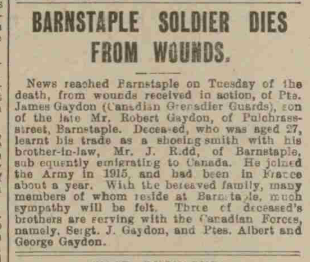 James Gaydon death article for blog Nov 1917