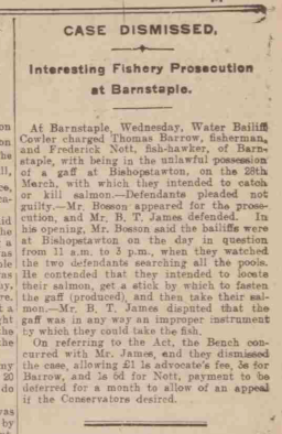 Fishing with a gaff Western Times 24.5.1912